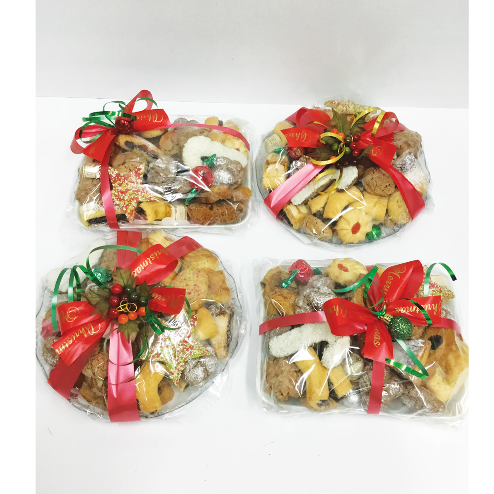 Xmas biscuit trays (round tray  850g rectangle tray 600g)